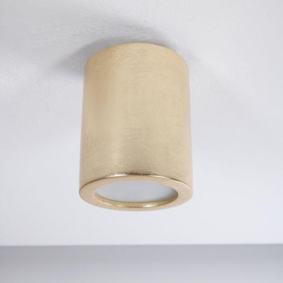 Deckenleuchte, Keramik, Blattgold, Glasscheibe, zwei Größen