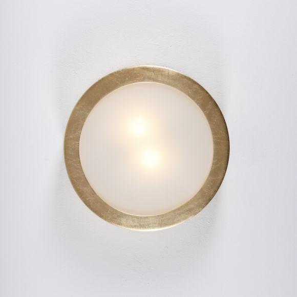 Deckenleuchte, Keramik, Blattgold, rund, Größe wählbar