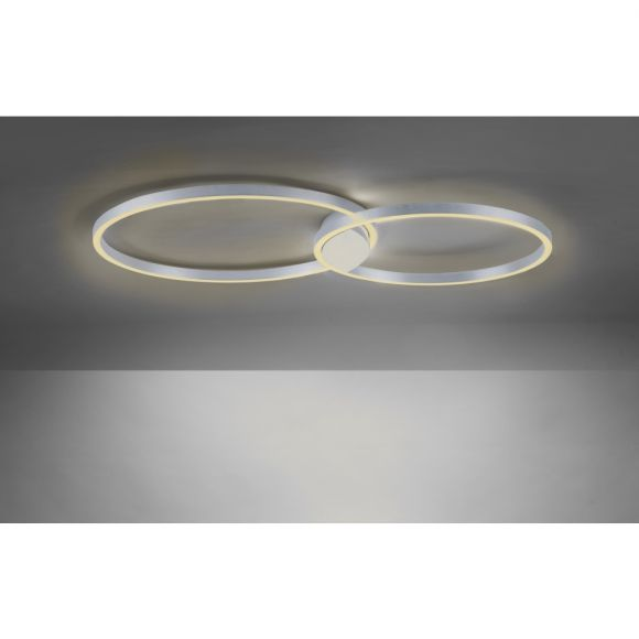 LED Deckenleuchte Q-KATE Ringe, aluminium, Fernbedienung, Smart Home 2 Größen