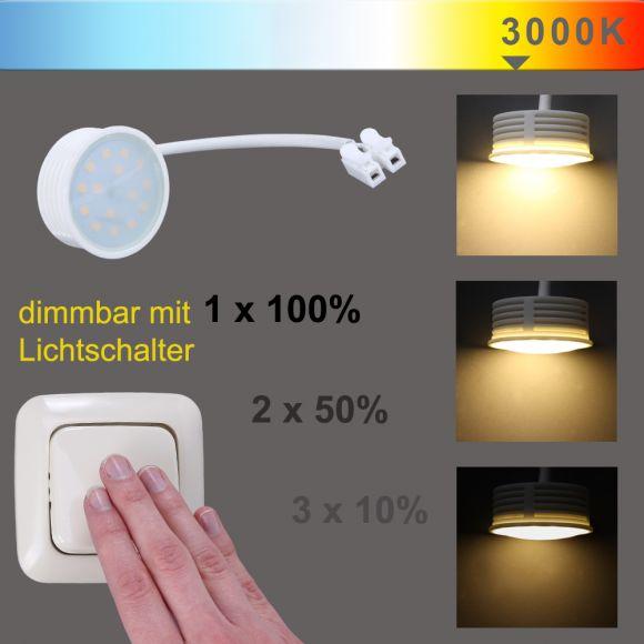 LHG LED Einbauleuchte 1er Set, eckig, Glas schwarz, 3-fach schaltbar