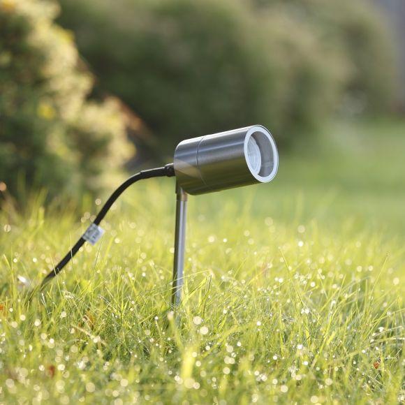 LHG LED Erdspießleuchte, Gartenstrahler, Edelstahl, punktuell, inkl. LED