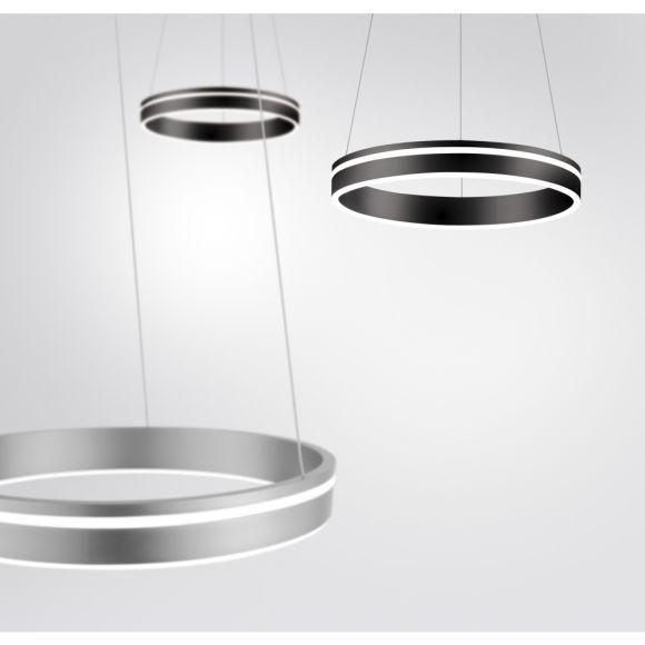 LED Pendelleuchte Q-VITO, silber, Smart Home, Fernbedienung, 3 Größen