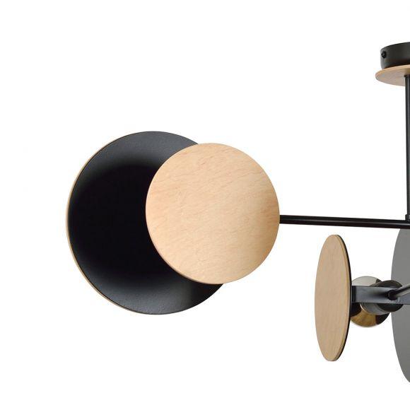 LHG Deckenleuchte, runde Scheiben, schwarz holz, inkl. 4x LED E27 7 W