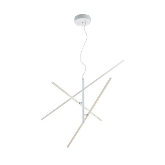 moderne Pendelleuchte mit drei schwenkbaren Leuchtelemente, silber o. weiß, geradliniges Design, inkl. 3X LED 8,5W