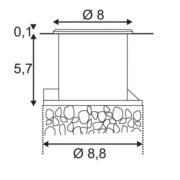S.L.V. LED-Bodeneinbaustrahler Dasar Flat 80 gebürstet
