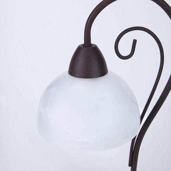 Tischleuchte im Landhausstil, Modern Country Style, rostfarbend braun mit weißem Alabasterglas