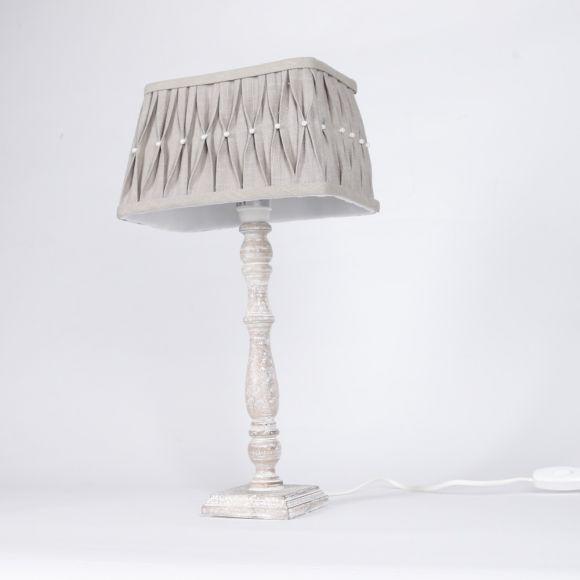 Tischleuchte mit Holzfuß und Stoffschirm in Grau