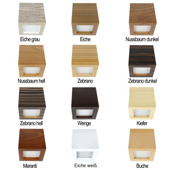 Wandleuchte in Würfelform, Holz, Eiche-Furnier, Up and Down