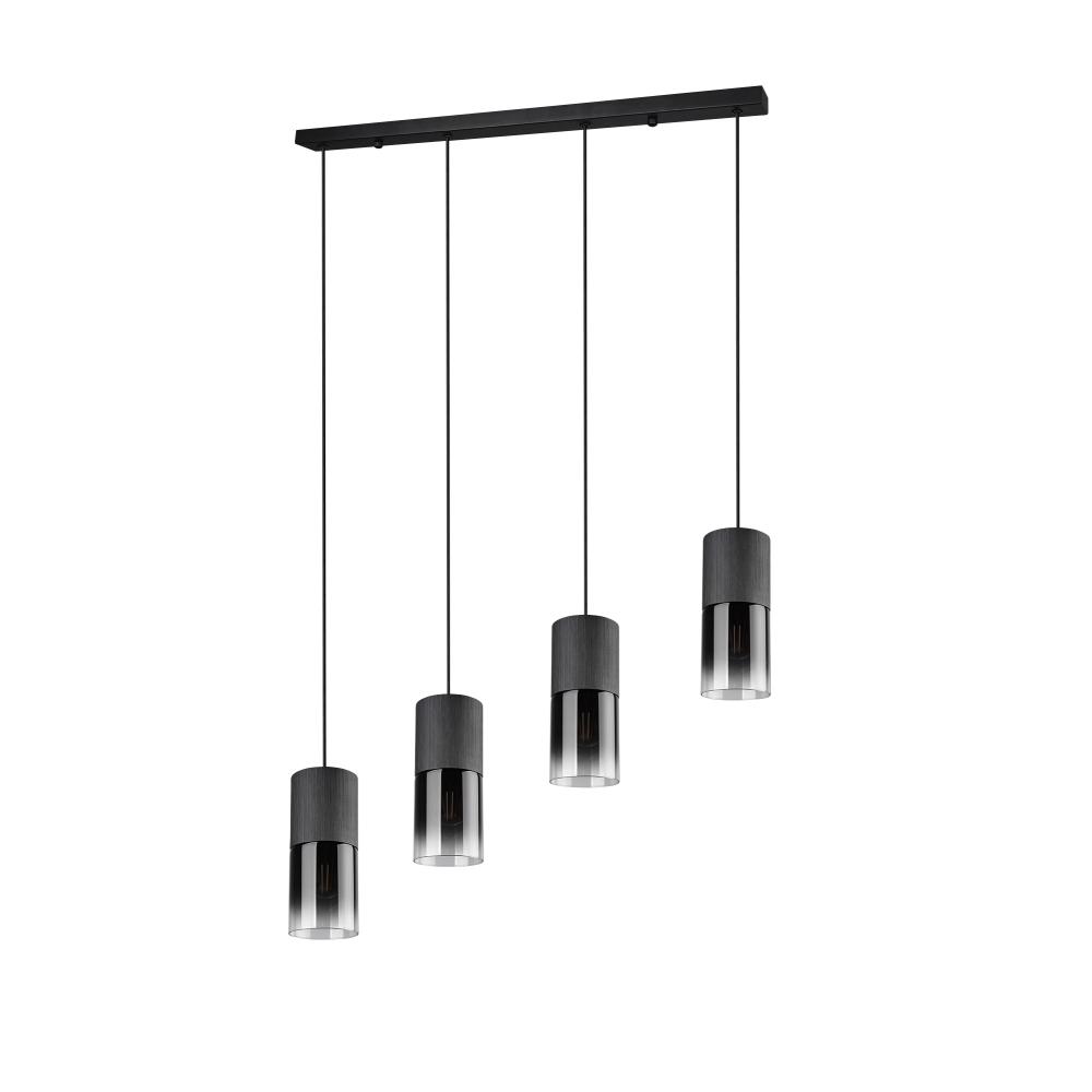 Pendelleuchte, schwarz matt, Rauchglas, 4-flammig, Breite 80,5 cm