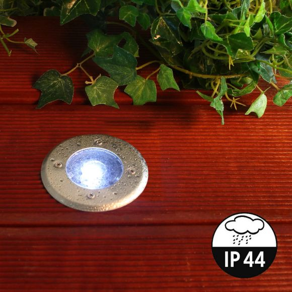 10er Set LED Solar-Bodeneinbauleuchte für Außen, rund, Edelstahl, trittfest, IP44 spritzwasser geschützt, 8h, Einbaustrahler