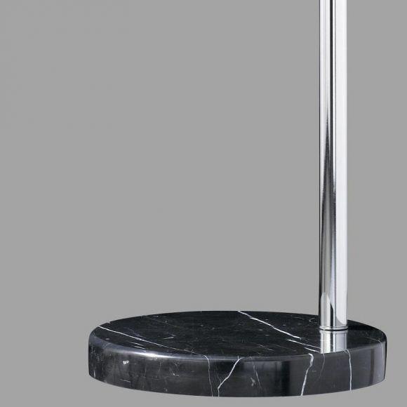 Bogenleuchte mit schwarzem Stoffschirm 50 cm, Marmorfuß schwarz