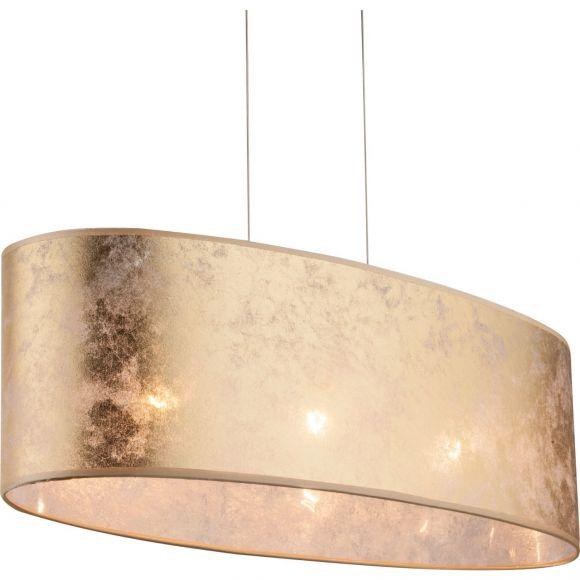 E27 Pendelleuchte aus Stoff und Acryl matt satiniert oval inkl. Aufhängung Höhe Schirm 20 cm 3-flammige Hängelampe gold