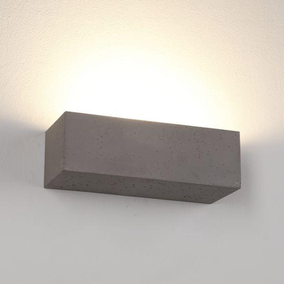 Gipswandleuchte, Beton-Optik, indirektes Licht, hell oder dunkel