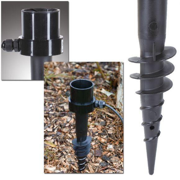 hochwertiger Erdspiess für Kugelleuchten aus schwarzem Kunststoff inkl. 2,4m Stromkabel und Zugentlastung