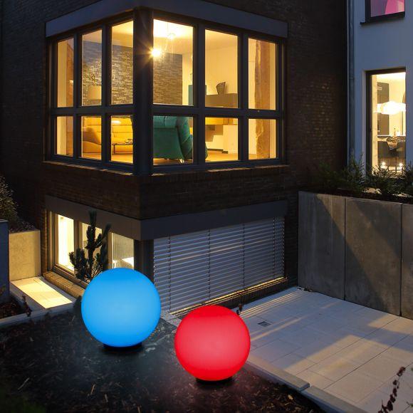 Kugelleuchten, Außenleuchte, 2er-Set, D 30, 40cm, RGB-LED