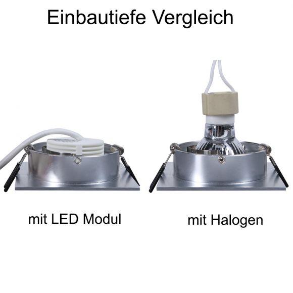 LHG LED Einbaustrahler, 5er Set, Glas eckig, 3-fach schalterdimmfähig