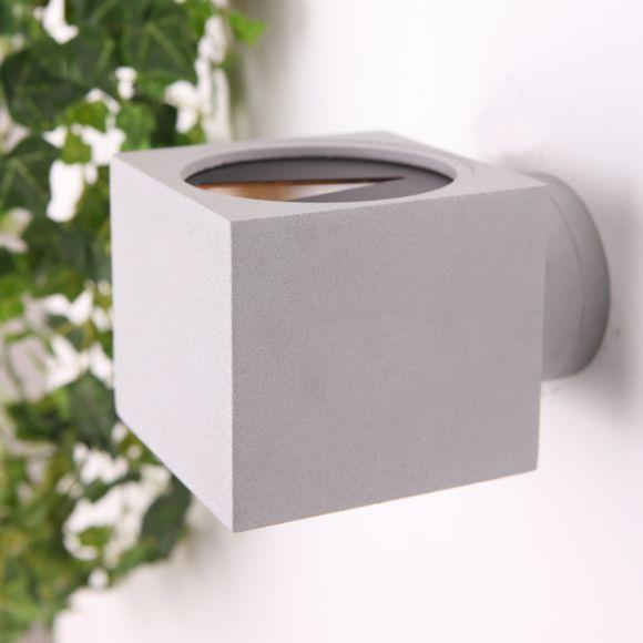 LHG Up & Down Außenwandleuchte aus Aluminium silber / grau, quadratisch H: 10cm, unterschiedlicher Lichtaustritt, Außenleuchte ideal für Hauswand & Hauseingang