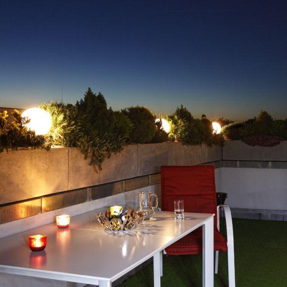 LHG Kugelleuchte 30cm für Außen ohne Stromkabel, Garten Kugellampe aus weißem Kunststoff, IP44 Outdoor geeignet, E27 Fassung