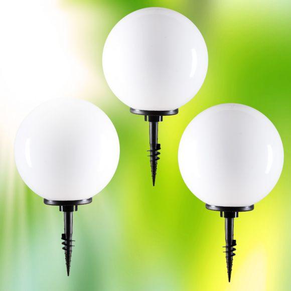 LHG Kugelleuchten 3er Set 2x 20cm & 1x 30cm für Außen mit Erdspieß & Stromkabel, inkl. E27 LED, Garten Kugellampen aus weißem Kunststoff, IP44 Outdoor geeignet, E27 Fassung