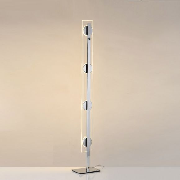 Moderne LED-Stehleuchte Chrom/Glas - inklusive 4x6Watt LED
