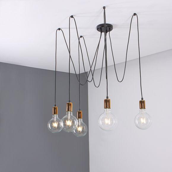 LHG Pendelleuchte, Schwarz, LED Globe, 4W Leuchtmittel