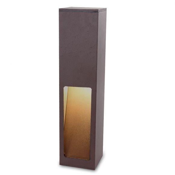 Pollerleuchte, Gartenleuchte, rostfarbig, Aluminium, eckig, Höhe 45 cm
