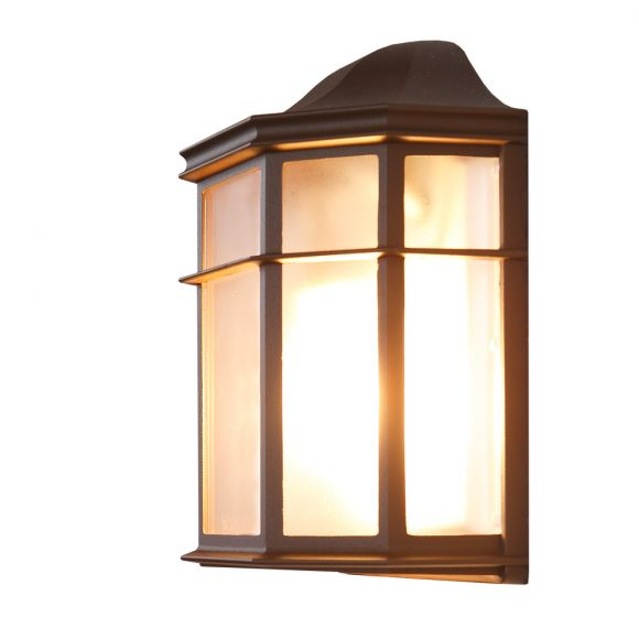 LHG Wandlampe, Außen, Landhausstil, flach, braun, LED einsetzbar