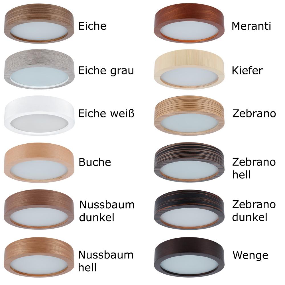 Deckenleuchte, rund, D=35cm, Zebrano dunkel, Furnierholz, 7cm hoch