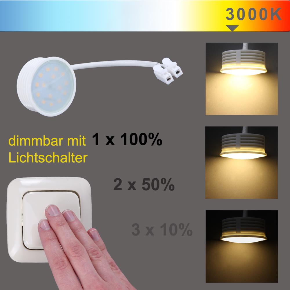 LED Einbaustrahler, 5er Set, Glas, dimmbar über vorhandenem Schalter