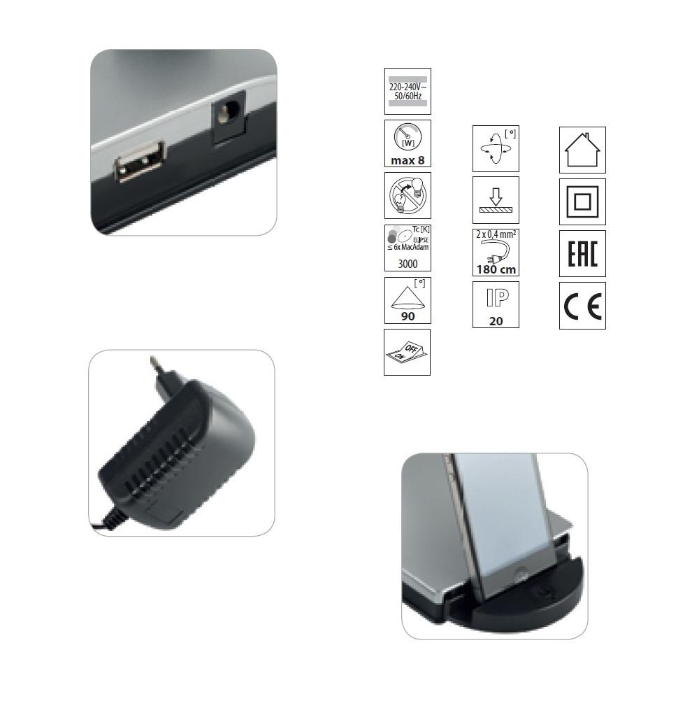 LED-Schreibtischleuchte Ombro mit USB-Ausgang und Touchdimmer