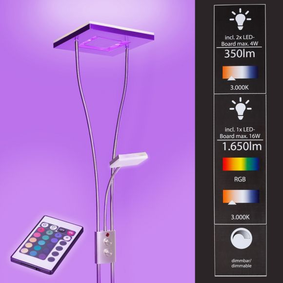 Deckenfluter LED mit RGB Farbwechsel | Stehleuchte inkl. Fernbedienung | Stehlampe + Leselampe | Fluter mit 1x LED-Board  4W 350lm 3000K | Leuchte dimmbar