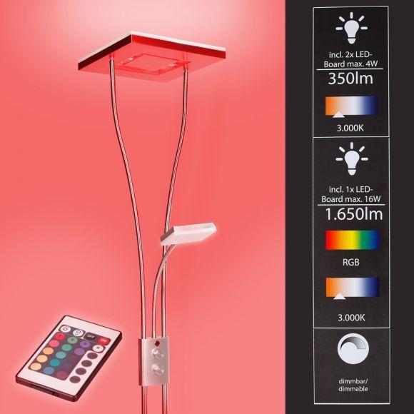 LED Deckenfluter mit Lesearm mit Dimmer, Stehlampe mit  RGBW Farbwechsel, Fernbedienung, 198cm Stehlampe