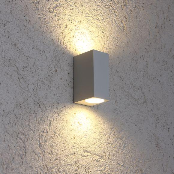 LED Wandleuchte Außen, weiß, eckig, Up & Down, 15 cm hoch, inkl. LED