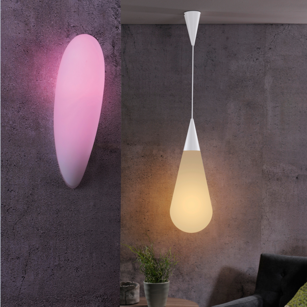 LED Wandleuchte, modern, Smart Home, Fernbedienung, Glas, H 44 cm
