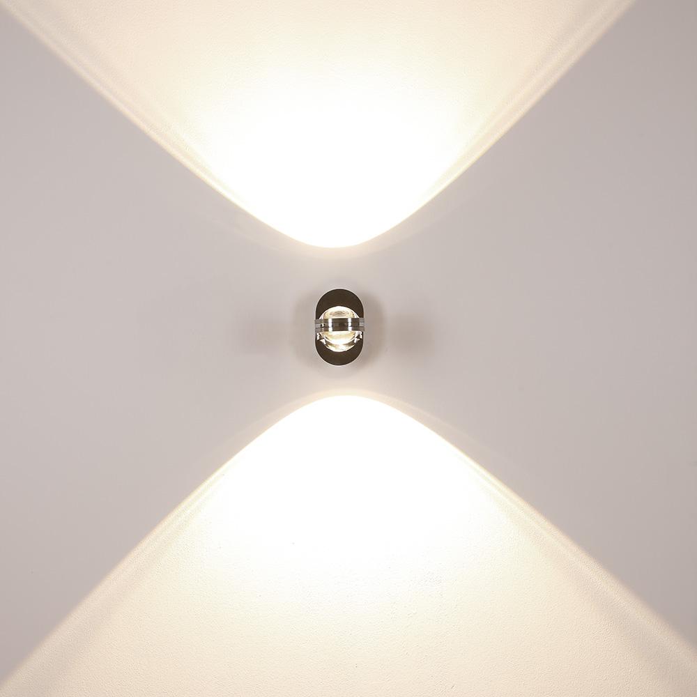 Up&Down LED-Wandleuchte in Chrom, mit Schalter