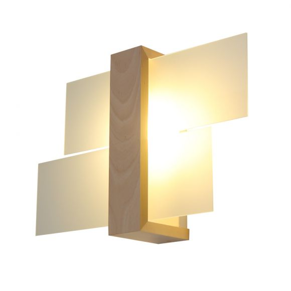 Wandleuchte, natural wood, modern, 43 cm breit, inkl. LED warmweiß