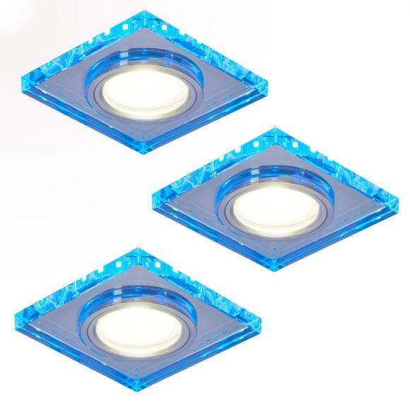 LHG LED Einbaustrahler 3er Set, eckig, LED-Hintergrundlicht blau, 9x9cm