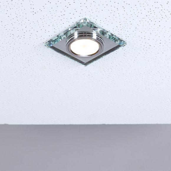 LHG LED Einbaustrahler, 5er Set, Glas eckig, LED RGBW, inkl. Fernbedienung