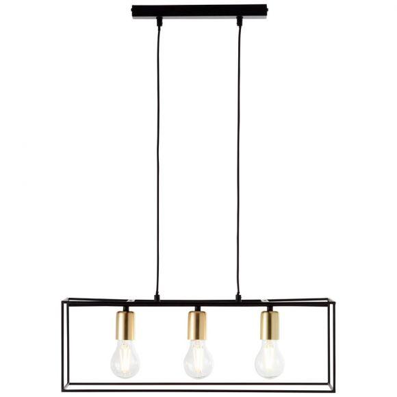 Pendelleuchte, modern, schwarz-messingfarbig, 3flammig, LED einsetzbar