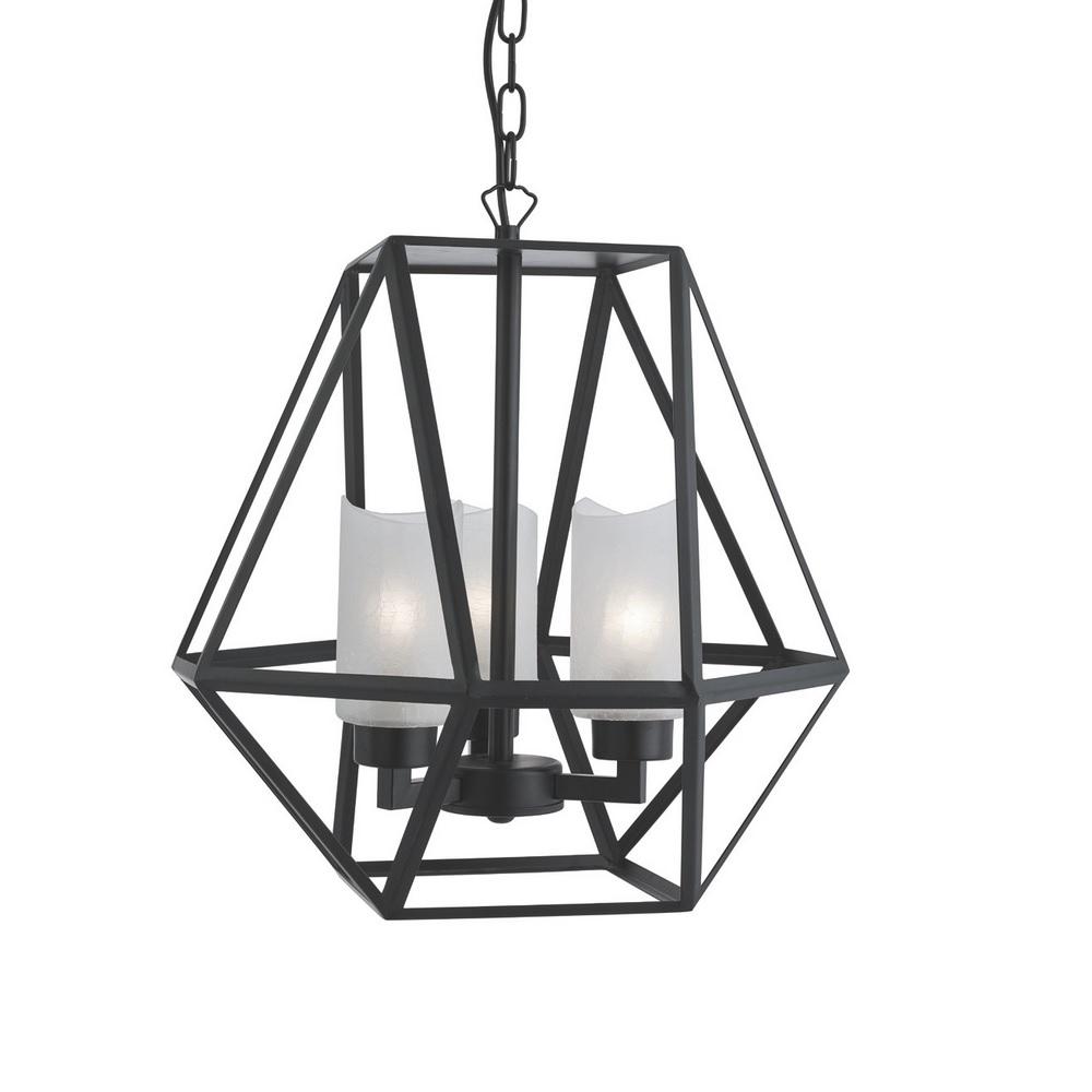 pendelleuchte voyager 3 flammig in schwarz matt mit strukturglas wohnlicht. Black Bedroom Furniture Sets. Home Design Ideas