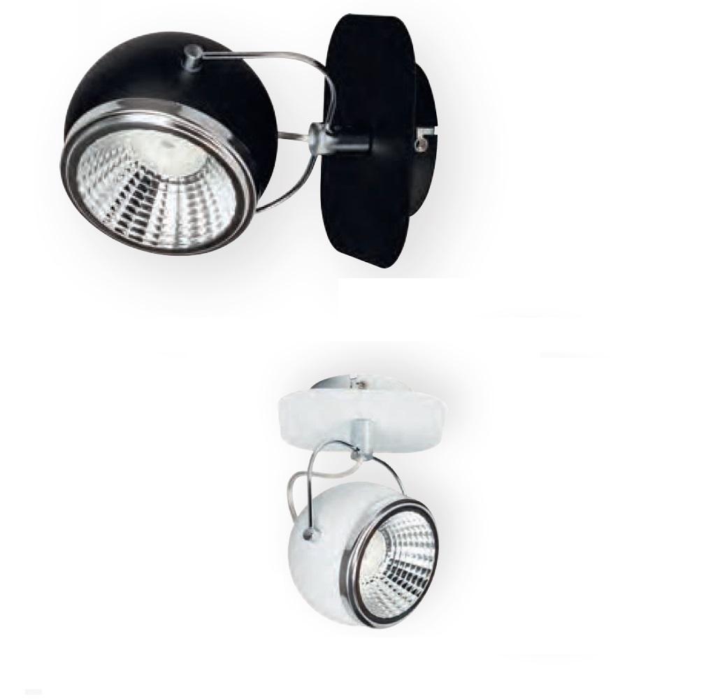 1flammiger led strahler ball in wei oder schwarz mit chrom wohnlicht. Black Bedroom Furniture Sets. Home Design Ideas