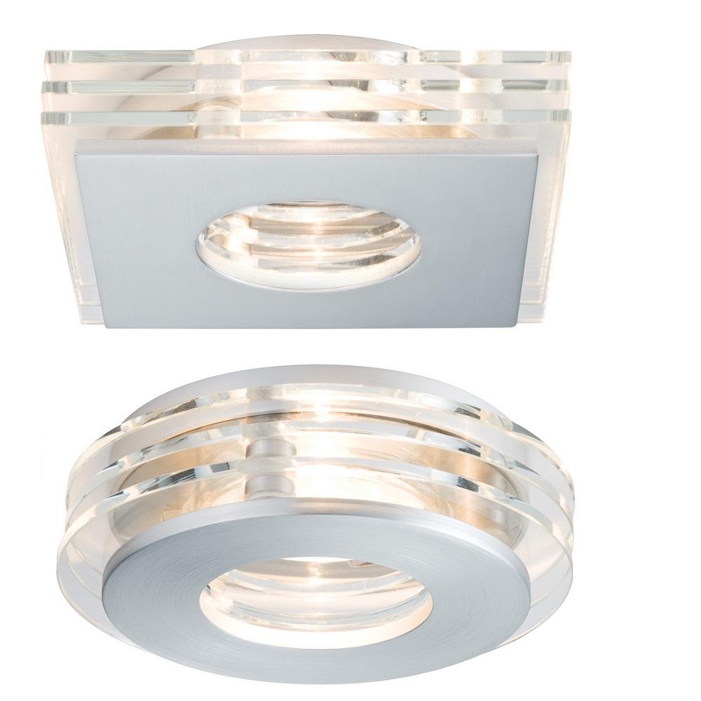 3er set led einbaustrahler alu glas led je 3 5w rund oder eckig wohnlicht. Black Bedroom Furniture Sets. Home Design Ideas