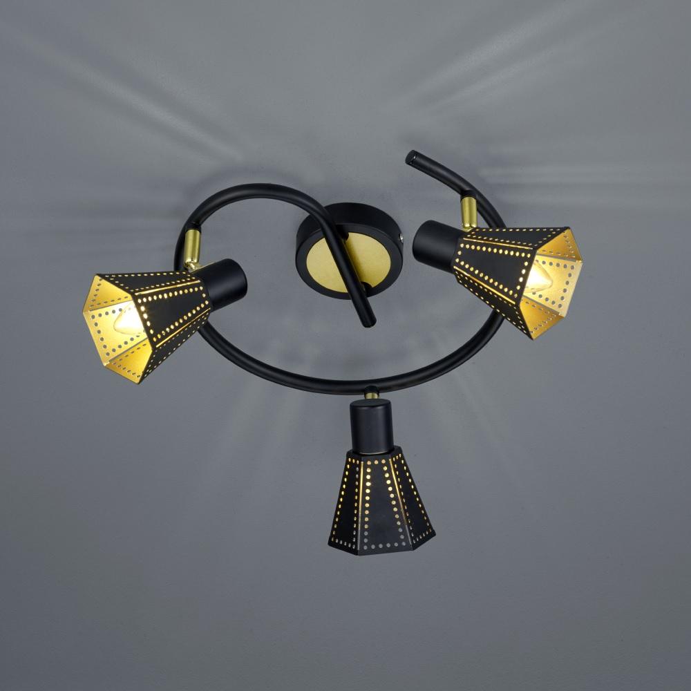 3 flammige deckenleuchte houston in schwarz gold wohnlicht. Black Bedroom Furniture Sets. Home Design Ideas