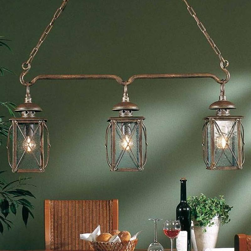 3 flammige pendelleuchte mit antika glas wohnlicht. Black Bedroom Furniture Sets. Home Design Ideas