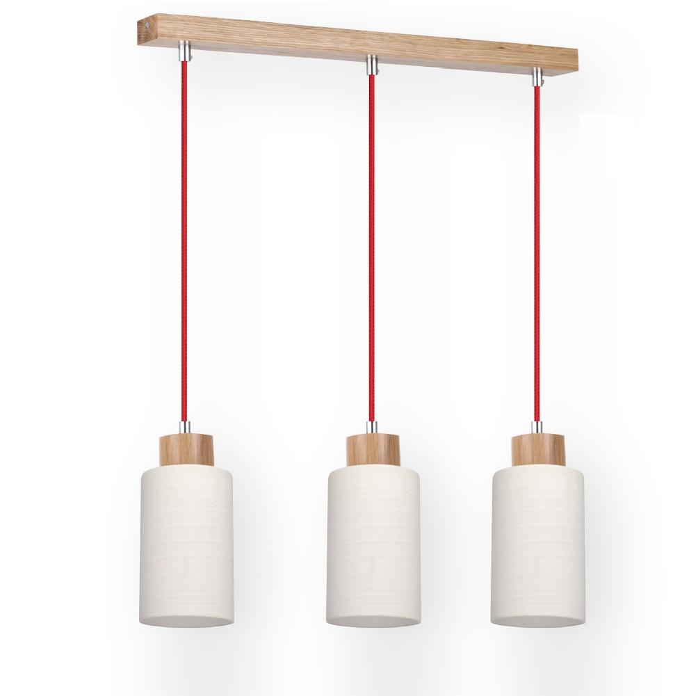 3 flg pendelleuchte mit eiche holz glas textil kabel rot 3x 60 watt 52 00 cm 3 flammig. Black Bedroom Furniture Sets. Home Design Ideas