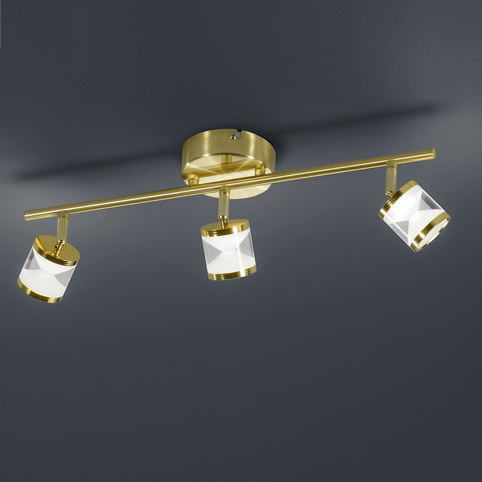 3 flg schwenkbarer led deckenstrahler cassini in messing matt wohnlicht. Black Bedroom Furniture Sets. Home Design Ideas