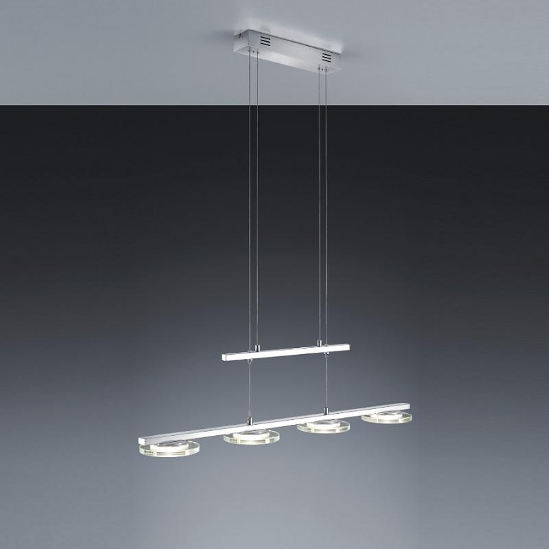 4 flg led pendelleuchte chrom glas satiniert klar. Black Bedroom Furniture Sets. Home Design Ideas
