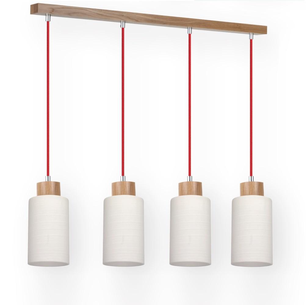 4 flg pendelleuchte mit eiche holz textil kabel rot 4x 60 watt 74 00 cm 4 flammig wohnlicht. Black Bedroom Furniture Sets. Home Design Ideas