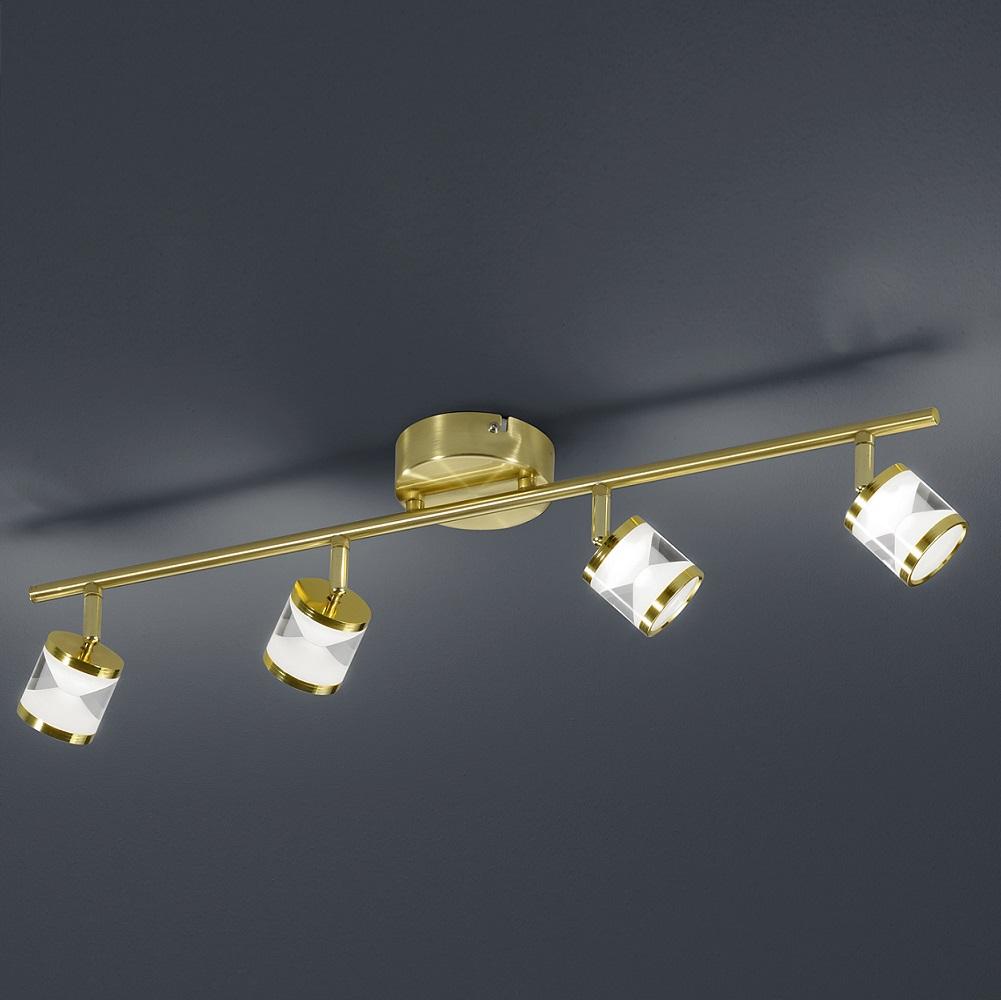 4 flg schwenkbarer led deckenstrahler cassini in messing matt wohnlicht. Black Bedroom Furniture Sets. Home Design Ideas