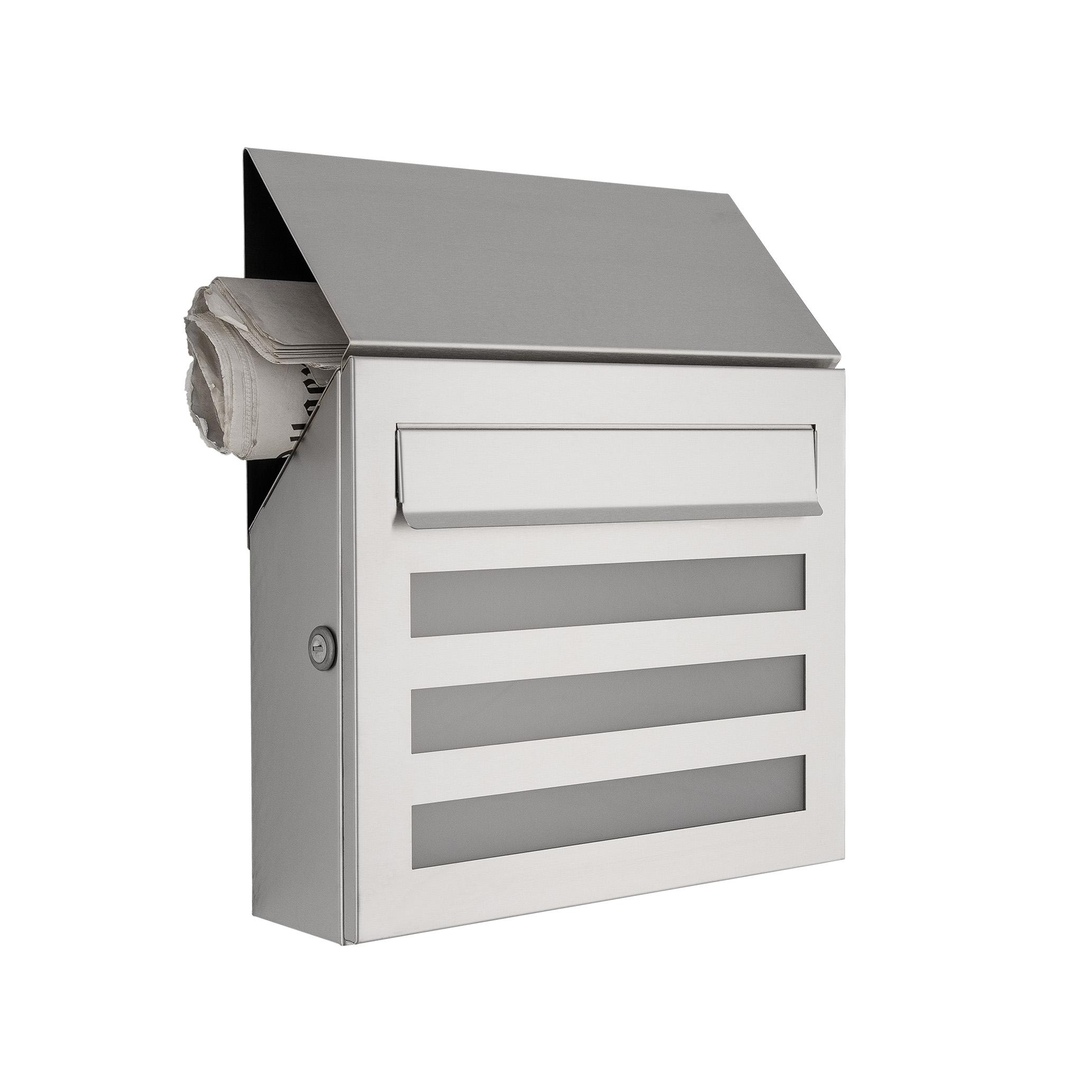 briefkasten aus edelstahl mit acrylglasscheibe zeitungsfach wohnlicht. Black Bedroom Furniture Sets. Home Design Ideas